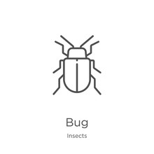 Bug Icon Vector From Insects Collection. Thin Line Bug Outline Icon Vector Illustration. Outline, Thin Line Bug Icon For Website Design And Mobile, App Development.