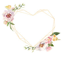 Heart Shaped Golden Frame Deco...