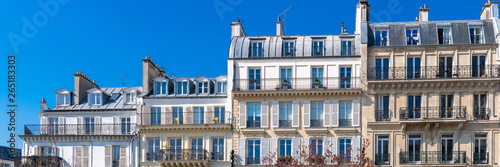 Obraz Paris, beautiful buildings in the center, typical parisian facades in the Marais  - fototapety do salonu