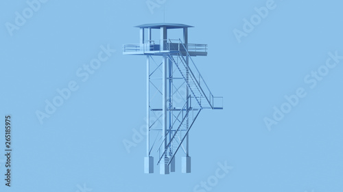 Pale Blue Tall Watch Tower with Steps 3d illustration Fototapeta