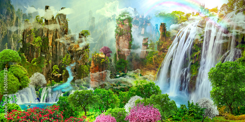Photo Stands Forest river Beautiful landscape with mountains and waterfalls. Sakura is blooming