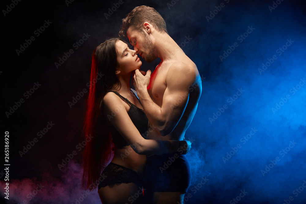 Fototapeta sexual contact between loving couple. close up photo. hot relation