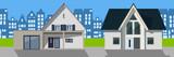 Häuser mit Stadtsilhouette