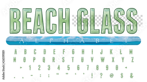 Beach Glass Alphabet: 52 Alphanumeric Characters Illustrated as Transparent Beac Wallpaper Mural
