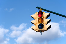Traffic Light With Blue Sky Ba...