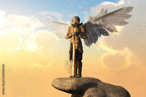 Canvas Print An archangel in golden armor, with sword in hand, and white feather wings spread stand atop a stone pedestal