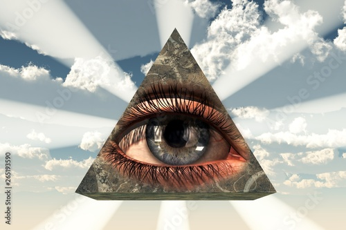 The All Seeing Eye: an eye transposed on a stone pyramid with light shining from behind, a symbol of the Illuminati and the Free Masons as well as a Christian Icon Tapéta, Fotótapéta