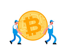 Movers And Bitcoin. Porters Carry BTC. Delivery Service. Loader Mover Man Holding. Moving Vector Illustration
