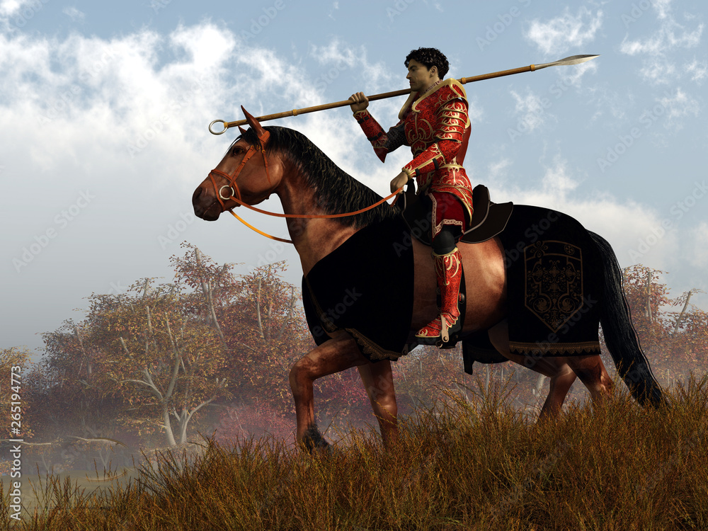 Fototapety, obrazy: A knight in red armor rides on horseback through an autumn landscape.  Over his shoulder, he rests his trusty spear. 3D Rendering