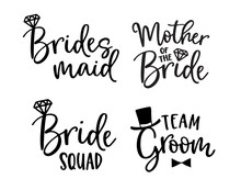 Wedding Lettering Set. Black Hand Lettered Quotes With Diamond Rings For Greeting Cards, Gift Tags, Labels. Typography Collection. Love Concept. Isolated Vector Illustrations. Broom And Bride Design.