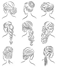 Collection. Silhouette Profile Of A Cute Lady's Head. The Girl Shows Her Hairstyle For Medium And Long Hair. Suitable For Logo, Advertising. Vector Illustration Set