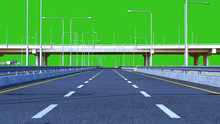 Day Road Freeway Travel Concept Route Direction 3d Render On Green Screen