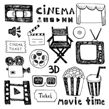 Hand Drawn Colorful Vector Illustrations - Cinema Collection. Movie And Film Elements In Sketch Style.