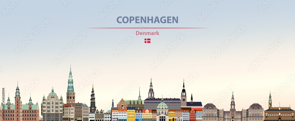 Fototapeta Vector illustration of Copenhagen city skyline on colorful gradient beautiful daytime background