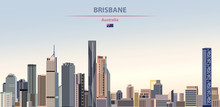 Vector Illustration Of Brisbane City Skyline On Colorful Gradient Beautiful Daytime Background