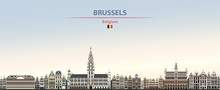 Vector Illustration Of Brussels City Skyline On Colorful Gradient Beautiful Daytime Background