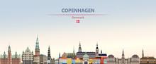 Vector Illustration Of Copenhagen City Skyline On Colorful Gradient Beautiful Daytime Background