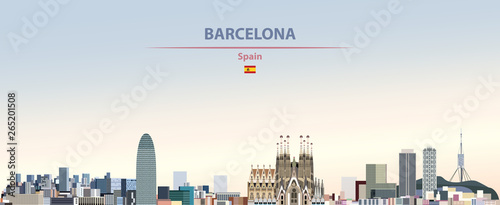 Vector illustration of Barcelona city skyline on colorful gradient beautiful day Wallpaper Mural