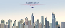 Vector Illustration Of Gold Coast City Skyline On Colorful Gradient Beautiful Daytime Background
