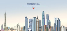 Vector Illustration Of Guangzhou City Skyline On Colorful Gradient Beautiful Daytime Background