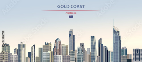 Vector illustration of Gold Coast city skyline on colorful gradient beautiful da Canvas-taulu