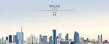 Vector Illustration Of Milan City Skyline On Colorful Gradient Beautiful Daytime Background