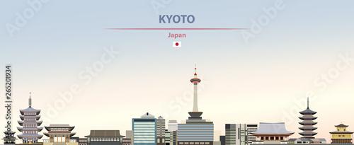 Naklejka premium Ilustracja wektorowa panoramę miasta Kioto na kolorowe gradientowe piękne tło dzienne