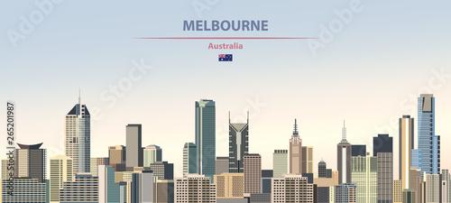 Naklejka premium Ilustracja wektorowa panoramę miasta Melbourne na pięknym tle kolorowe gradientu dnia