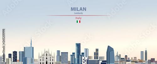 Fototapeta premium Ilustracja wektorowa panoramę miasta Mediolan na kolorowe gradientu piękne tło dzienne