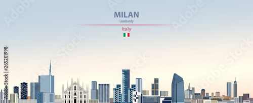 Fototapeta Vector illustration of Milan city skyline on colorful gradient beautiful daytime
