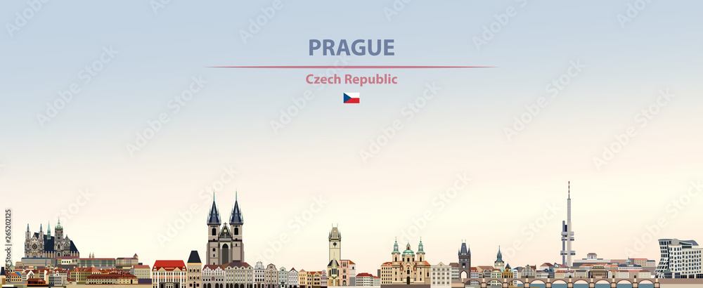 Fototapety, obrazy: Vector illustration of Prague city skyline on colorful gradient beautiful daytime background