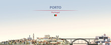 Vector Illustration Of Porto City Skyline On Colorful Gradient Beautiful Daytime Background