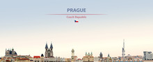 Vector Illustration Of Prague City Skyline On Colorful Gradient Beautiful Daytime Background
