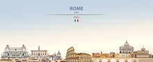 Vector Illustration Of Rome City Skyline On Colorful Gradient Beautiful Daytime Background