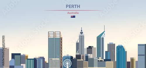 Vector illustration of Perth city skyline on colorful gradient beautiful daytime background