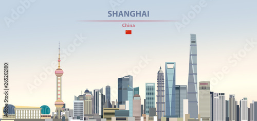 Canvas Print Vector illustration of shanghai city skyline on colorful gradient beautiful dayt
