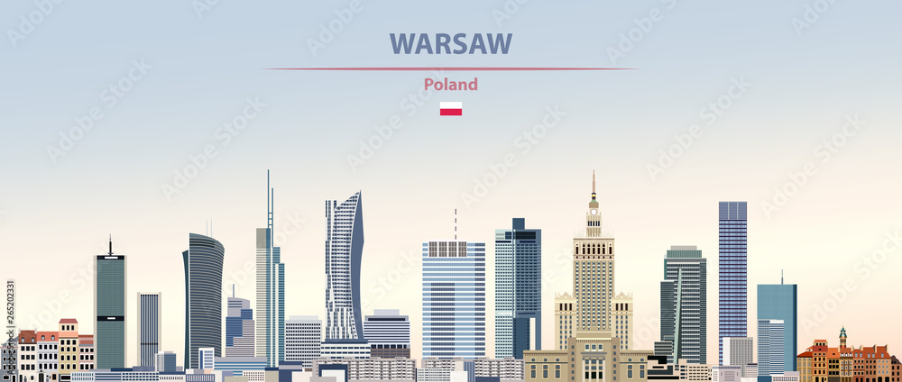 Fototapety, obrazy: Vector illustration of Warsaw city skyline on colorful gradient beautiful daytime background