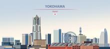 Vector Illustration Of Yokohama City Skyline On Colorful Gradient Beautiful Daytime Background