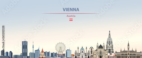 Vector illustration of Vienna city skyline on colorful gradient beautiful daytim Canvas Print