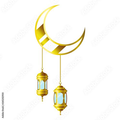 ramadan kareem lantern and moon hanging Canvas Print