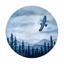 Eagle Flying Over Misty Forest. Handdrawn Watercolour Graphic Drawing On White, Inspirational Monochrome Element For Design, T-shirt Print, Label, Badge, Postcard, Banner, Home Decor, Wallpaper.