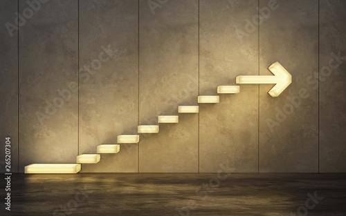 Fotografía  stairs going  upward, 3d rendering