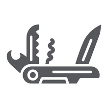 Multi Tool Glyph Icon, Camping And Multifunction, Pocket Knife Sign, Vector Graphics, A Solid Pattern On A White Background.