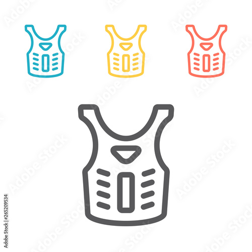 Canvas Print Bulletproof vest, Body armor line icon, outline vector sign, linear pictogram isolated on white