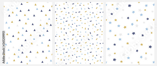 Fototapeta Set of 3 Geometric Seamless Vector Pattern with Blue, Gold and Gray Dots, Triangles, Stars Isolated on a White Background. Simple Lovely Confetti Rain. Bright Starry Layout. Cute Doted Vector Design. obraz