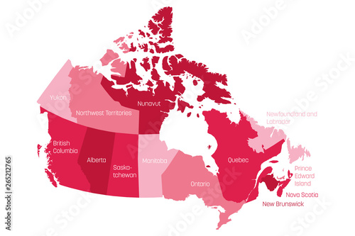 Cuadros en Lienzo Map of Canada divided into 10 provinces and 3 territories
