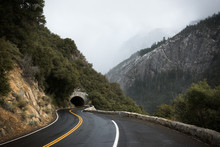 Tunnel On The Road Into Yosemite National Park On A Cloudy Day