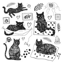 Hand Drawn Vector Illustrations Of Cat Characters Set. Sketch Style.