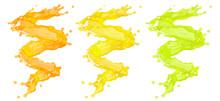 Fresh Fruit Juice Splashes Swirl Set. Fruits Juice Splashing Orange, Lemon, Tangerine, Pineapple, Peach, Mango, Papaya, Lime Juice Spiral Form Isolated. Healthy Drink Concept. 3D Render