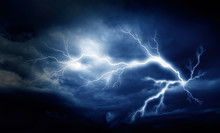 Lightning Strike On The Cloudy...